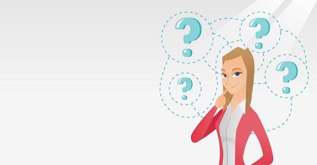 Illustration vectorielle de jeune entreprise femme pensée.