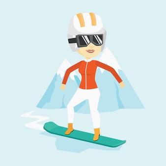 Illustration vectorielle de jeune femme snowboard.