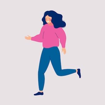 Illustration vectorielle d'une jeune fille avec des cheveux lâches, marchant sur un fond clair
