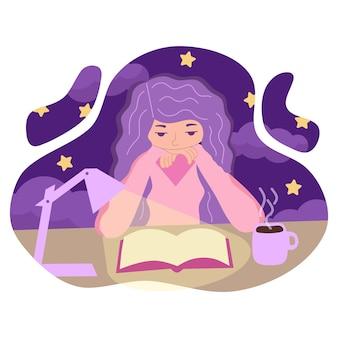 Illustration vectorielle d'une jeune fille lisant un livre attentivement la nuit à la lumière d'une lampe