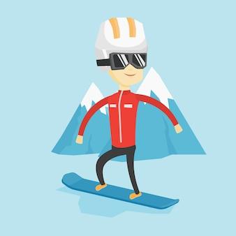Illustration vectorielle de jeune homme snowboard.