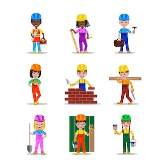 Illustration vectorielle de jeunes bâtisseurs caractères