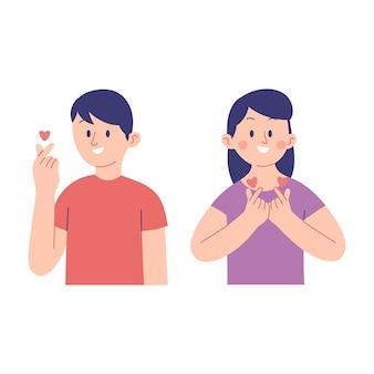 Illustration vectorielle de jeunes hommes et femmes montrant l'expression des coeurs coréens