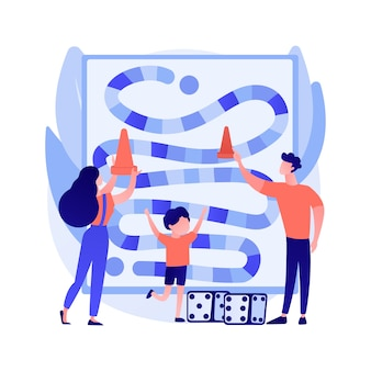 Illustration vectorielle de jeux de société concept abstrait. activités sur table, jeux stratégiques, joueurs restés à la maison, isolement social, temps libre, idée d'activité amusante en famille, métaphore abstraite.