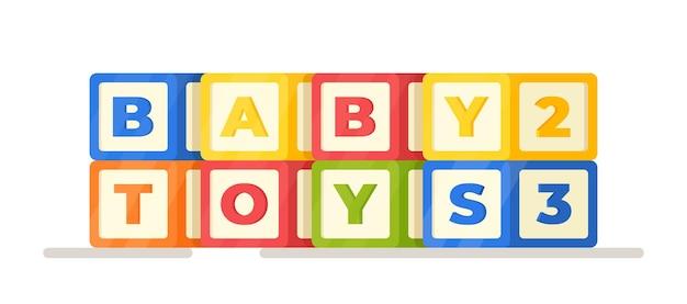 Illustration vectorielle de jouets pour bébés. cubes avec des lettres et des chiffres isolés sur fond blanc. cubes de développement lumineux et colorés