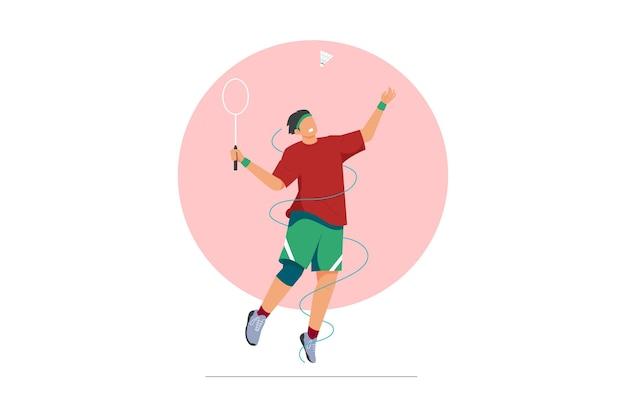 Illustration vectorielle de joueur de badminton