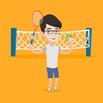 Illustration vectorielle de joueur de tennis masculin.
