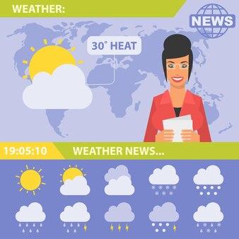 Illustration vectorielle, journaliste et actualité météo, format eps 10