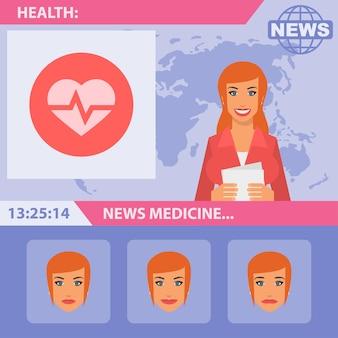 Illustration vectorielle, journaliste et actualités médicales, format eps 10