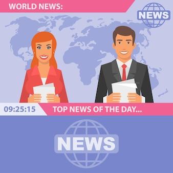 Illustration vectorielle, journalistes et actualités mondiales, format eps 10