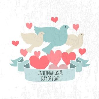 Illustration vectorielle de la journée internationale de la paix. style design plat icônes du jour de la paix. insignes du jour de la paix avec pigeon, coeur, main. modèle de jour de paix pour carte postale, carte d'invitation, impression