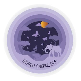 Illustration vectorielle de la journée mondiale des animaux convient pour la bannière et l'affiche de la carte de voeux