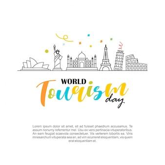 Illustration vectorielle de la journée mondiale du tourisme logo