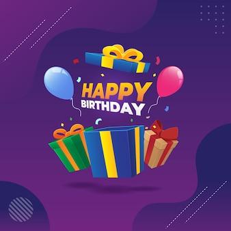 Illustration vectorielle de joyeux anniversaire cadeau surprise