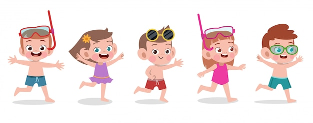 Illustration vectorielle de joyeux enfants plage vacances isolé