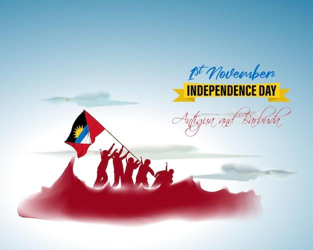 Illustration vectorielle de joyeux jour de l'indépendance d'antigua-et-barbuda