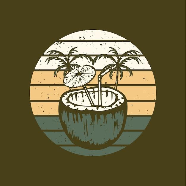 Illustration vectorielle de jus de noix de coco illustration vintage
