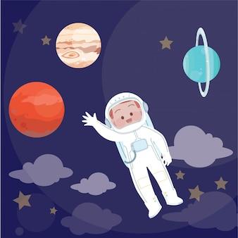 Illustration vectorielle de kid astronaute