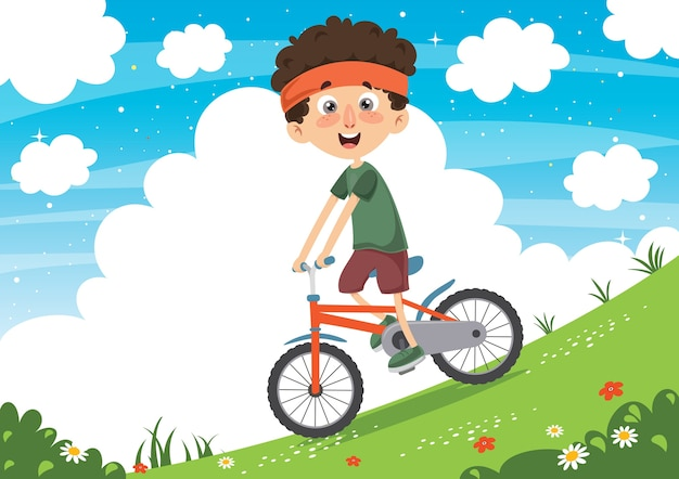 Illustration vectorielle de kid cyclisme