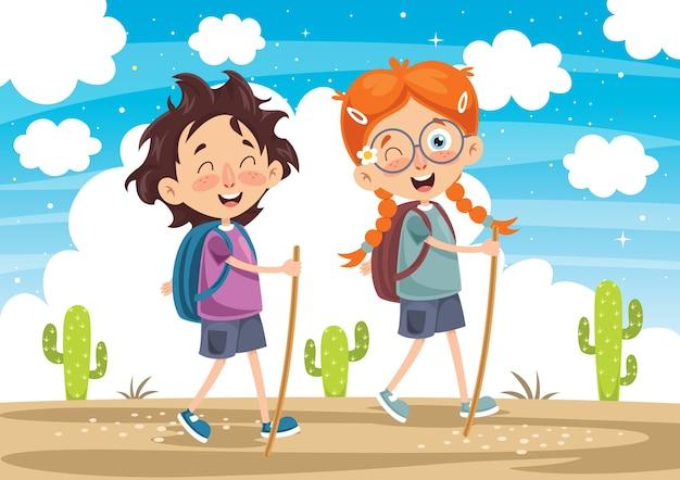 Illustration vectorielle de kid trekking