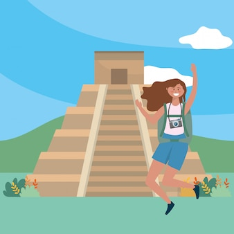 Illustration vectorielle de kukulkan pyramid landmark design