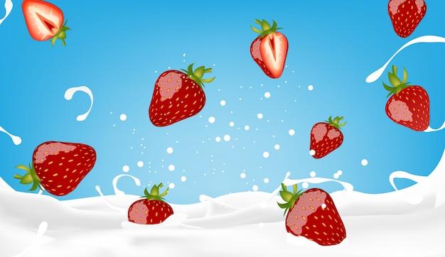 Illustration vectorielle de lait aux fraises éclaboussant