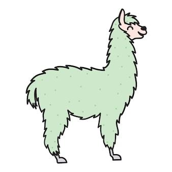 Illustration vectorielle de lama. décrire le bébé lama de dessin animé. guanaco animal pérou dessiné à la main, alpaga, vigogne