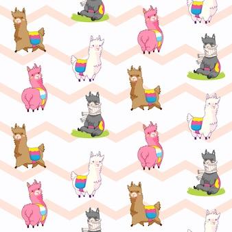 Illustration vectorielle de lama modèle sans couture