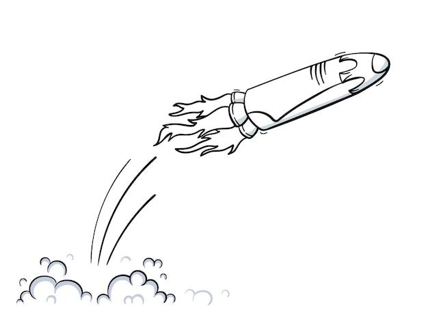 Illustration vectorielle de lancement de vaisseau spatial. démarrage de fusée. navette spatiale de contour de dessin animé doodle