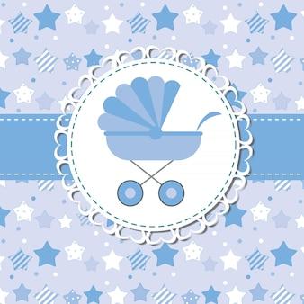 Illustration vectorielle de landau bleu pour garçon nouveau-né