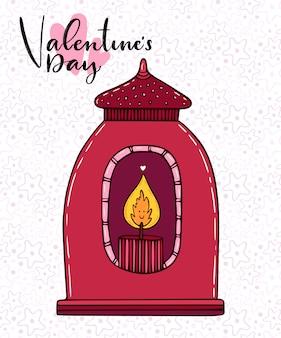 Illustration vectorielle de lanterne bougie doodle mignon dessiné à la main. carte de voeux avec lanterne rouge.