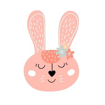 Illustration vectorielle de lapin kawaii mignon