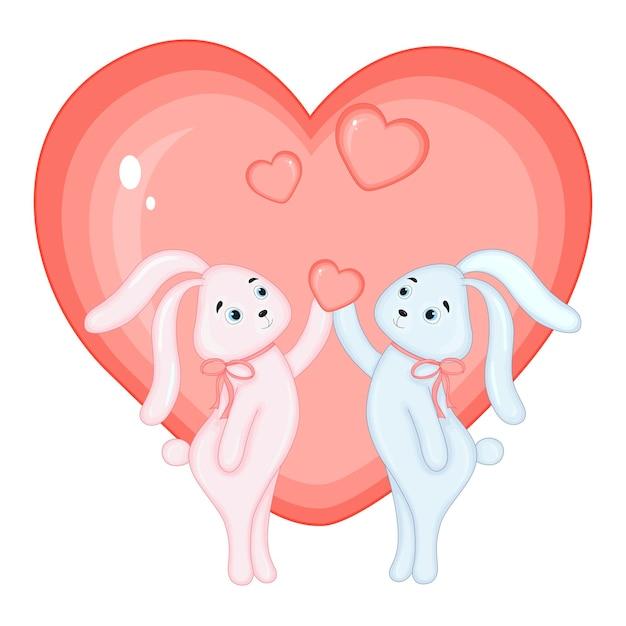 Illustration vectorielle d'un lapin pour la saint-valentin.