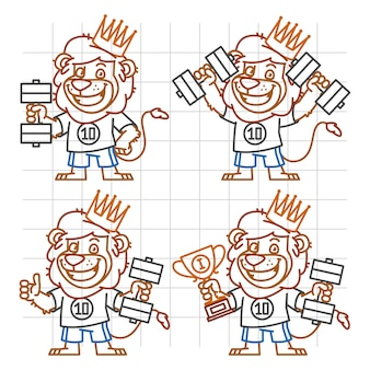 Illustration vectorielle, leo bodybuilder dans différentes versions doodle, format eps 10