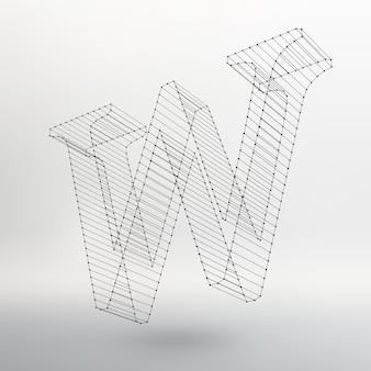 Illustration vectorielle de la lettre l sur fond blanc. polices de maille polygonale. alphabets de contour de fil de fer.