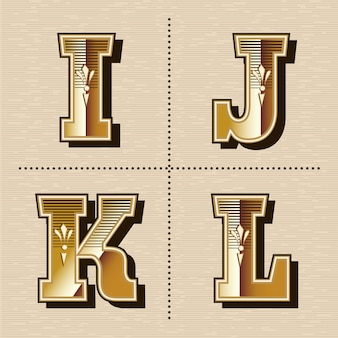 Illustration vectorielle de lettres alphabet occidental vintage design de polices (i, j, k, l)