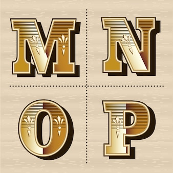 Illustration vectorielle de lettres alphabet occidental vintage design de polices (m, n, o, p)
