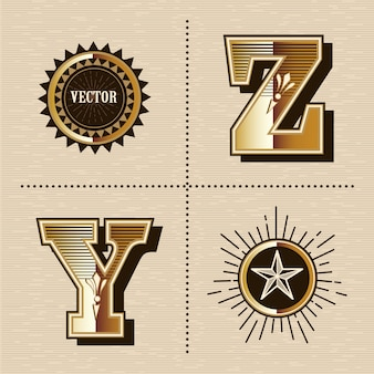 Illustration vectorielle de lettres alphabet occidental vintage design de polices (y, z)