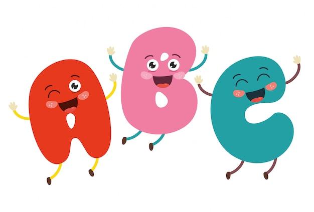 Illustration vectorielle de lettres de dessin animé