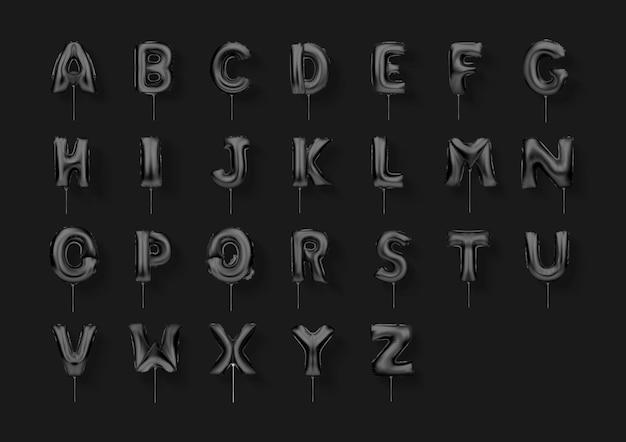 Illustration vectorielle. lettres noires feuille ballons alphabet a à z jeu de polices réalistes 3d.