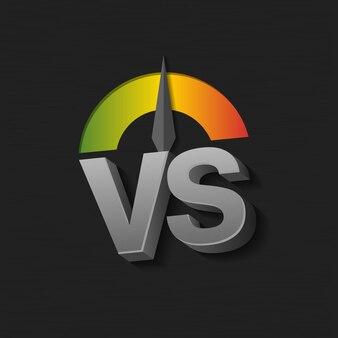 Illustration vectorielle des lettres vs comme versus et échelle du vert au rouge sur fond sombre.