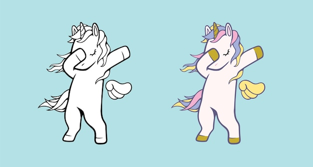 Illustration vectorielle de licorne blanche pour enfants isolés.