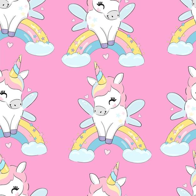 Illustration vectorielle licorne mignonne sans soudure tendance fond