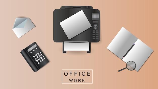 Illustration vectorielle d'un lieu de travail au bureau.