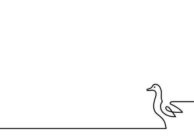 Illustration vectorielle de ligne continue canard sur fond blanc