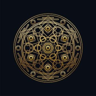 Illustration vectorielle linéaire de mandala géométrique d'encre dorée. symbole oriental ethnique isolé sur fond noir