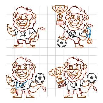 Illustration vectorielle, lion footballeur doodle partie 1, format eps 10
