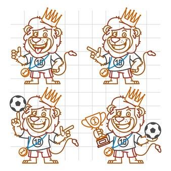Illustration vectorielle, lion footballeur doodle partie 2, format eps 10