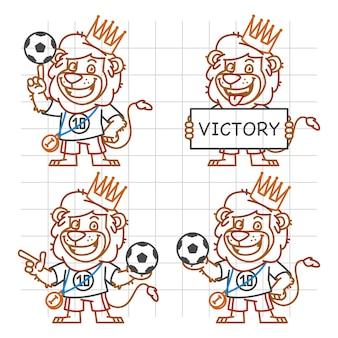 Illustration vectorielle, lion footballeur doodle partie 3, format eps 10