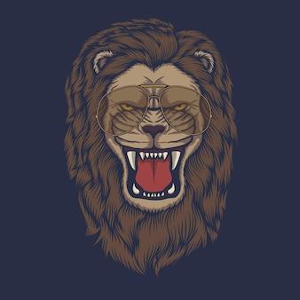 Illustration vectorielle de lion tête en colère lunettes